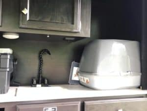 Litter box in outdoor kitchen