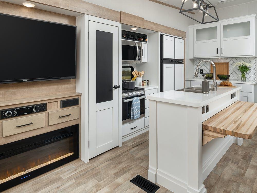 Modern RV Kitchen with White Cabinets