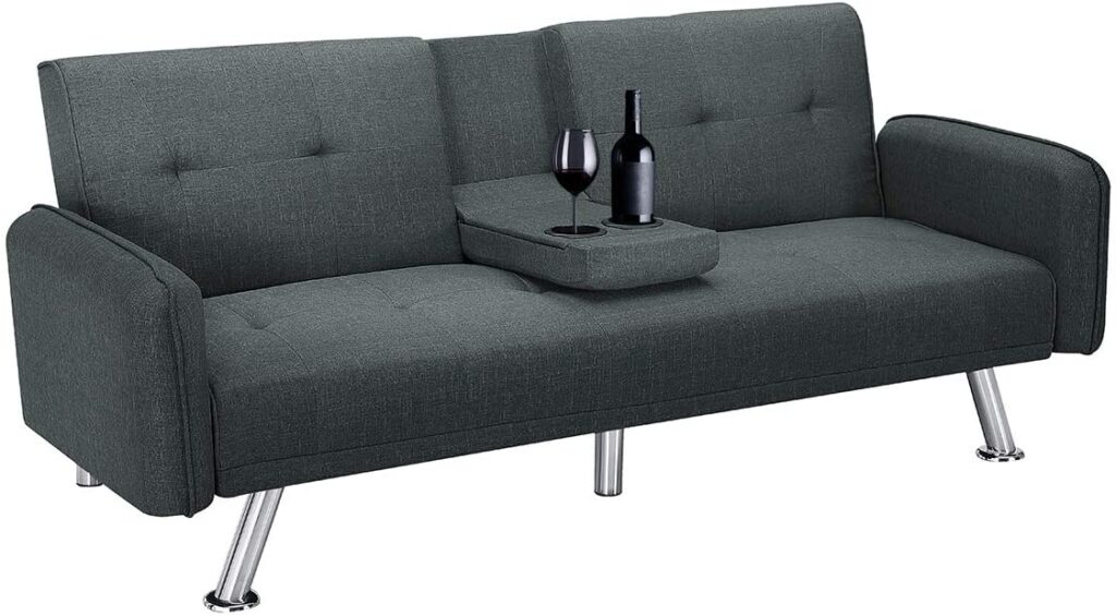 Futon with cup holder