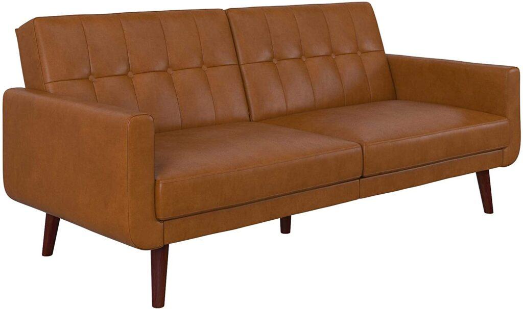 Faux leather futon
