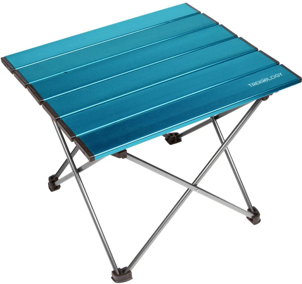 Portable blue camping table