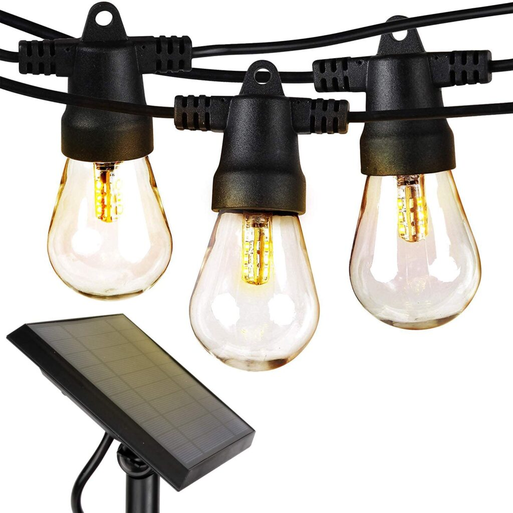 Outdoor string lights with solar panel