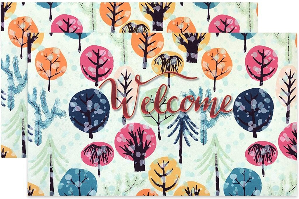 Rubber Welcome Mat with Colorful Tree Print