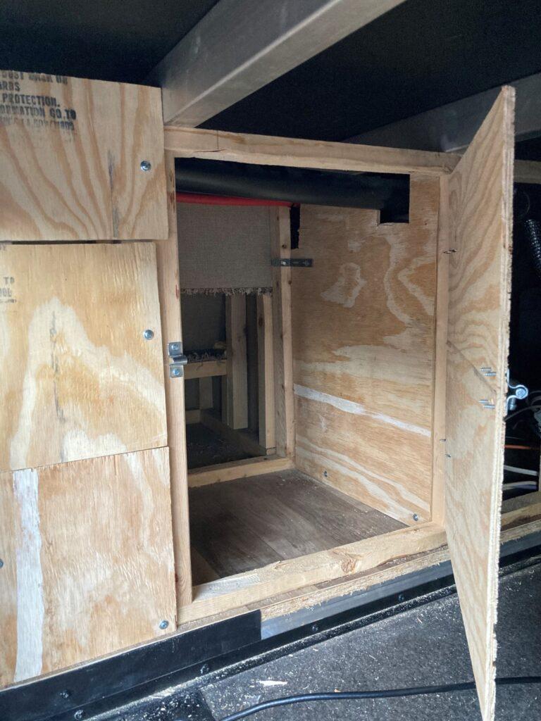 RV Cat Litter Box Room Under 5th Wheel Stairs