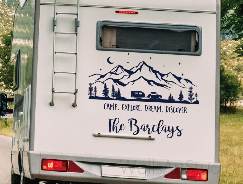 RV Vinyl Decal with Mountains