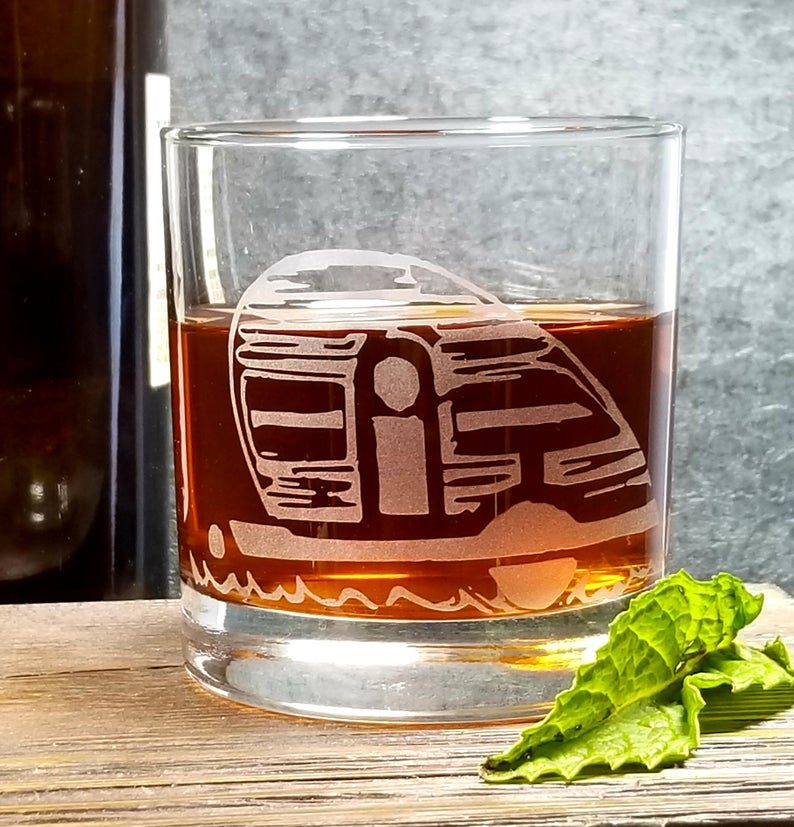 Etched glasses with teardrop trailer image