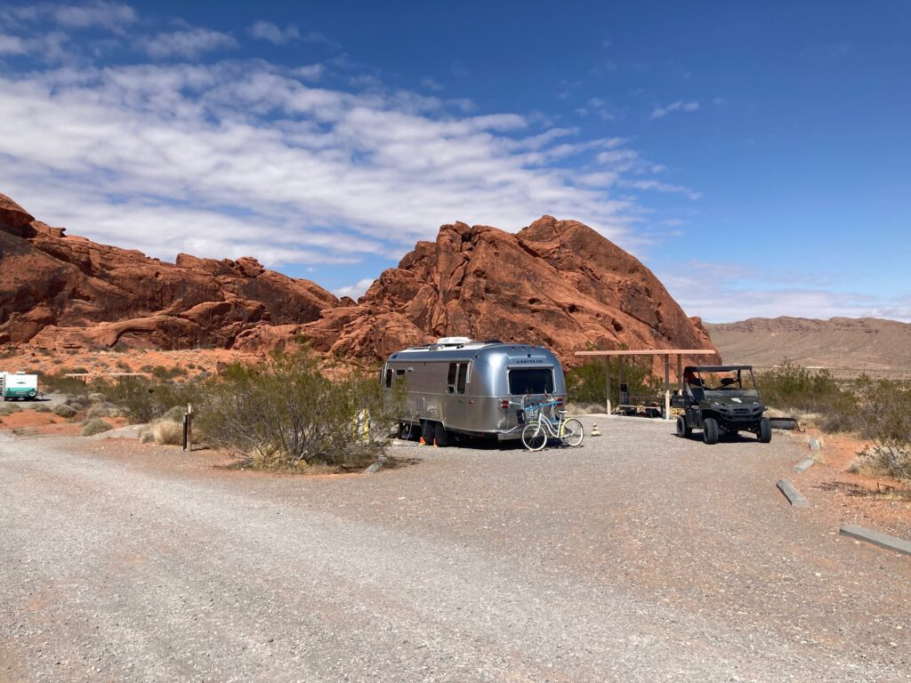 Airstream parked in Red Rocks
