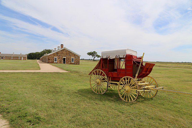 Wagon at Santa Fe Trail Historic Site