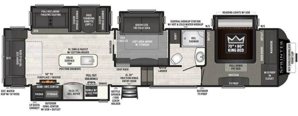 Travel Trailers with Two Queen Bedrooms: Sprinter 3571FWLFT