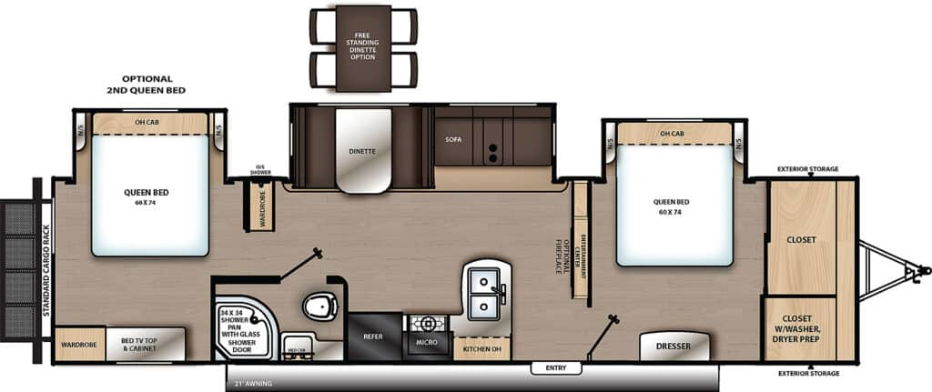 Travel Trailers with Two Queen Bedrooms: Catalina 343BHTS