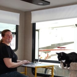 RV Modifications for Cats Woman at Desk with Cat and Cat Condo in an RV